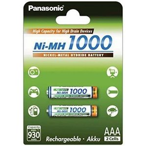 Rechargeable AAA 1000 Ni-mh Panasonic 1.2 V batteries BK-4HGAE/2BE (Pack of 2)
