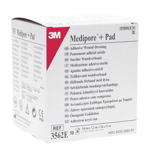 Medipore Sterile Adhesive Bandage + PAD with 3M Absorbent Compress 5 x 7.2 cm (Lot of 50)